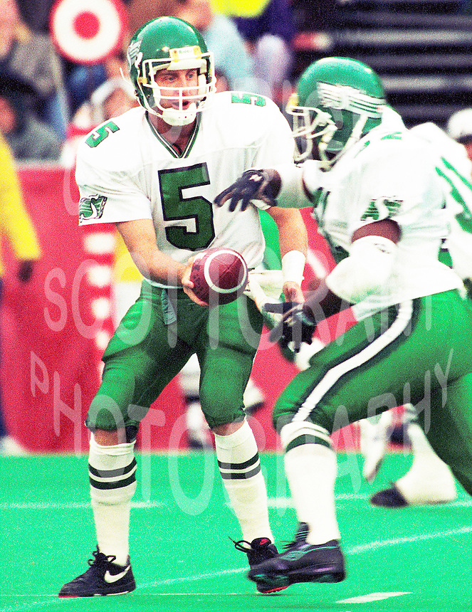Kent Austin Saskatchewan Roughriders quarterback 1991. Copyright photograph Scott Grant