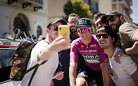Maglia Ciclamino / points leader Pascal Ackermann (DEU/BORA-hansgrohe) is in for a selfie at the race start in Vasto<br /> <br /> Stage 7: Vasto to L'Aquila (180km)<br /> 102nd Giro d'Italia 2019<br /> <br /> ©kramon