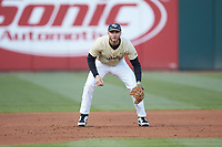 Wake Forest Demon Deacons third baseman Johnny Aiello (2) on defense against the Charlotte 49ers at BB&T BallPark on March 13, 2018 in Charlotte, North Carolina.  The 49ers defeated the Demon Deacons 13-1.  (Brian Westerholt/Four Seam Images)