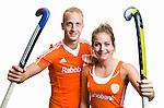 AMSTELVEEN - Billy Bakker en Eva de Goede, beiden international en spelend voor Amsterdam, poseren voor de nieuwe KNHB sportiviteitscampagne. COPYRIGHT KOEN SUYK