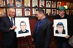 Max Klimavicius, Michael Mayer and Michael Moore during the Michael Moore And Michael Mayer portrait unveilings as they join the Wall of Fame at Sardi's on September 21, 2017 at Sardi's in New York City.