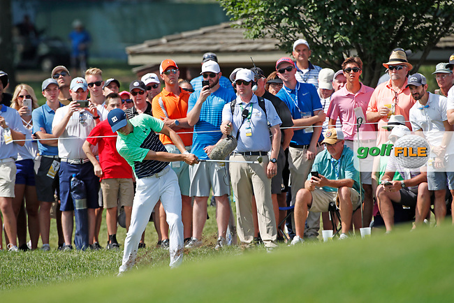 Jordan Spieth (USA) chips on the 8th hole during the first round of the 100th PGA Championship at Bellerive Country Club, St. Louis, Missouri, USA. 8/9/2018.<br /> Picture: Golffile.ie | Brian Spurlock<br /> <br /> All photo usage must carry mandatory copyright credit (© Golffile | Brian Spurlock)