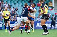 Agnatius Paasi takes a hit up. Sydney Roosters v Vodafone Warriors, NRL Rugby League. Allianz Stadium, Sydney, Australia. 31st March 2018. Copyright Photo: David Neilson / www.photosport.nz