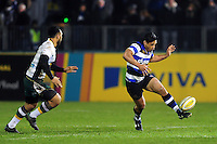 Ben Tapuai of Bath Rugby puts boot to ball. Aviva Premiership match, between Bath Rugby and Northampton Saints on February 10, 2017 at the Recreation Ground in Bath, England. Photo by: Patrick Khachfe / Onside Images