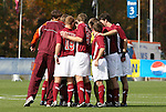 11 November 2008: Virginia Tech players huddle before the game. North Carolina State University Wolfpack defeated the Virginia Tech Hokies 3-1 at Koka Booth Stadium at WakeMed Soccer Park in Cary, NC in a men's ACC tournament first round game.