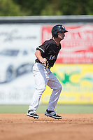Grant Massey (16) of the Kannapolis Intimidators takes his lead off of second base against the Greensboro Grasshoppers at Intimidators Stadium on July 17, 2016 in Greensboro, North Carolina.  The Intimidators defeated the Grasshoppers 3-2 in game one of a double-header.  (Brian Westerholt/Four Seam Images)