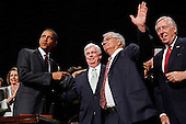 "United States President Barack Obama (2nd L) points to U.S. Senate Banking Committee Chairman Christopher Dodd (D-CT) (C) and U.S. House Financial Services Committee Chairman Barney Frank (D-MA) after signing the the financial reform bill into law during a ceremonywith Speaker of the House Nancy Pelosi (D-CA) (L) and House Majority Leader Steny Hoyer (D-MD) (R) at the Ronald Reagan Building and International Trade Center, Wednesday, July 21, 2010 in Washington, DC. A sweeping expansion of federal financial regulation in the wake of the worst recession since the Great Depression, the bill will create a consumer protection agency, lay out a blueprint for disassembling financial entities considered ""too big to fail,"" and many other reforms..Credit: Chip Somodevilla - Pool via CNP"