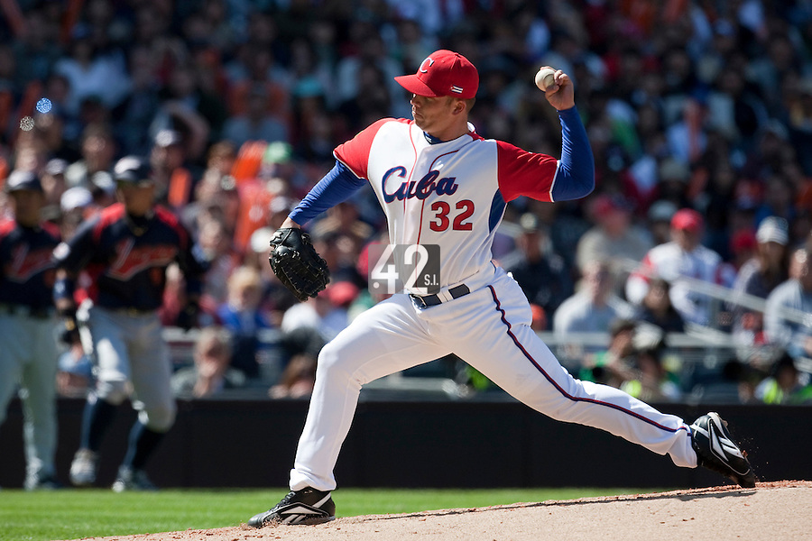 15 March 2009: #32 Norberto Gonzalez of Cuba pitches against Japan during the 2009 World Baseball Classic Pool 1 game 1 at Petco Park in San Diego, California, USA. Japan wins 6-0 over Cuba.