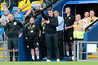 Fleetwood Town Manager Joey Barton shouts instructions to his team from the dug-out <br /> <br /> Photographer David Shipman/CameraSport<br /> <br /> The EFL Sky Bet League One - Oxford United v Fleetwood Town - Saturday August 11th 2018 - Kassam Stadium - Oxford<br /> <br /> World Copyright &copy; 2018 CameraSport. All rights reserved. 43 Linden Ave. Countesthorpe. Leicester. England. LE8 5PG - Tel: +44 (0) 116 277 4147 - admin@camerasport.com - www.camerasport.com