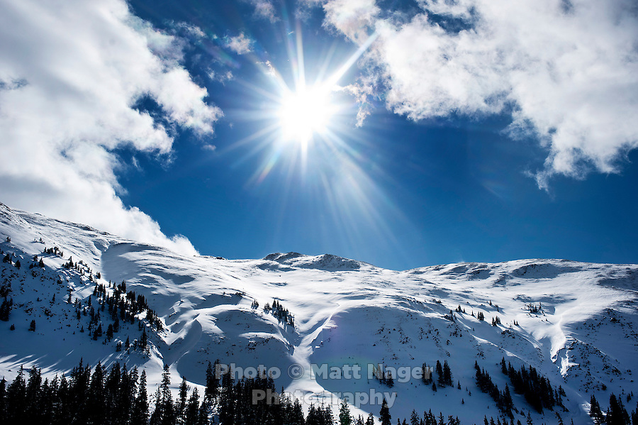 A mountain range just west of the Eisenhower Tunnel in Colorado, Thursday, February 16, 2012. Tests at this area showed that there was a fairly hard slab of snow resting on weaker snow beneath making conditions which can lead to avalanches...Photo by Matt Nager