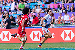Jean Pascal Barraque of France (R) runs with the ball during the HSBC Hong Kong Sevens 2018 Bowl Final match between Canada and France on 08 April 2018, in Hong Kong, Hong Kong. Photo by Marcio Rodrigo Machado / Power Sport Images