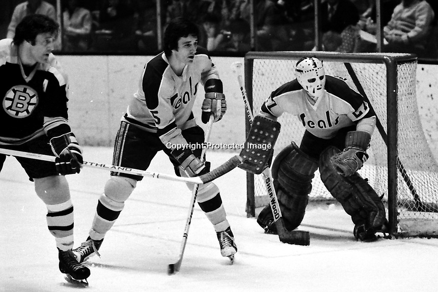 Seals vs Boston, Phil Esposito and Seals Terry Murray along with Seal goalie Gilles Meloche. (1975 photo by Ron Riesterer)