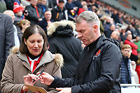 Fleetwood Town Manager John Sheridan signing autograph for fan during the Sky Bet League 1 match between Rotherham United and Fleetwood Town at the New York Stadium, Rotherham, England on 7 April 2018. Photo by Leila Coker.