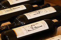 Carignan. Domaine Mas Gabinele. Faugeres. Languedoc. The wine shop and tasting room. France. Europe. Bottle.