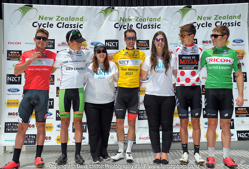 Bluebridge staff with the tour jersey winners after stage five of the NZ Cycle Classic UCI Oceania Tour in Masterton, New Zealand on Tuesday, 26 January 2017. Photo: Dave Lintott / lintottphoto.co.nz