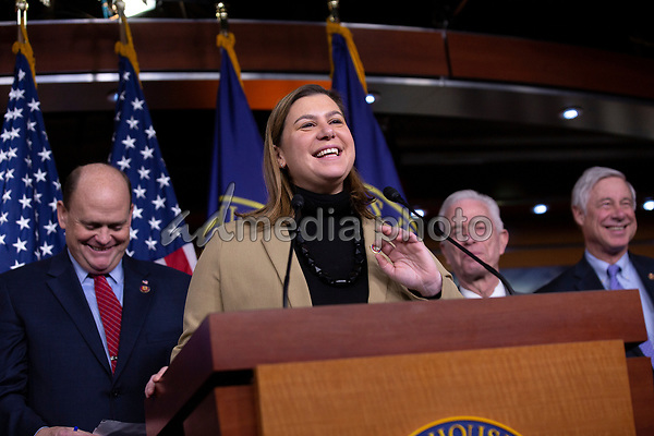 United States Representative Elissa Slotkin (Democrat of Michigan), along with bipartisan members of the Problem Solvers Caucus, delivers remarks during a news conference regarding legislative goals for the upcoming year at the United States Capitol in Washington D.C., U.S. on Tuesday, February 11, 2020.  <br /> <br /> Credit: Stefani Reynolds / CNP/AdMedia