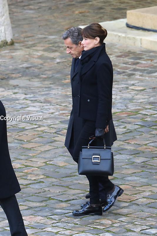 Nicolas Sarkozy - Carla Bruni-Sarkozy - Hommage National ‡ JEAN D'ORMESSON - 08/12/2017 - Hotel des Invalides - Paris - France