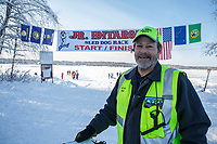 Comms Mike at the finish of the 2018 Junior Iditarod in Willow, Alaska. Sunday February 25, 2018<br /> <br /> Photo by Jeff Schultz/SchultzPhoto.com  (C) 2018  ALL RIGHTS RESERVED