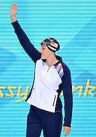 August 01, 2012..Missy Franklin waves at the crowd as she arrives to compete in Women's 100m Freestyle Semifinal at the Aquatics Center on day five of 2012 Olympic Games in London, United Kingdom.