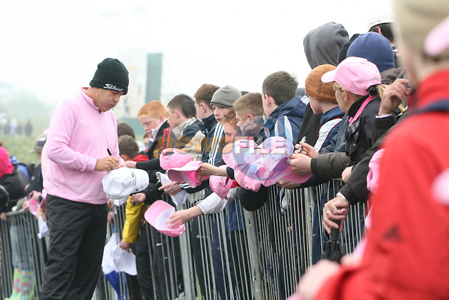 David Frost signing hats on the second day (pink Day) of the 3 Irish Open in Baltray...Photo NEWSFILE/Jenny Matthews.(Photo credit should read Jenny Matthews/NEWSFILE)....This Picture has been sent you under the condtions enclosed by:.Newsfile Ltd..The Studio,.Millmount Abbey,.Drogheda,.Co Meath..Ireland..Tel: +353(0)41-9871240.Fax: +353(0)41-9871260.GSM: +353(0)86-2500958.email: pictures@newsfile.ie.www.newsfile.ie.FTP: 193.120.102.198.