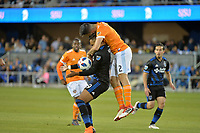 San Jose, CA - Saturday April 14, 2018: Danny Hoesen, Alejandro Fuenmayor during a Major League Soccer (MLS) match between the San Jose Earthquakes and the Houston Dynamo at Avaya Stadium.