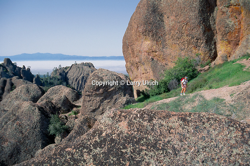 Hiker on High Peaks Trail <br /> High Peaks<br /> Pinnacles National Monument<br /> San Benito County,  California