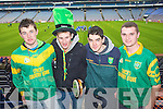Aidan O'Donnell,  Kiaran Browne, Kevin Dowd and Peter Searle Castkegregory fans at the All Ireland Junior Club Championship at Croke park on Sunday....