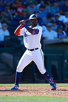Sherten Apostel (82) of the Texas Rangers at bat during a Cactus League Spring Training game against the Los Angeles Dodgers on March 8, 2020 at Surprise Stadium in Surprise, Arizona. Rangers defeated the Dodgers 9-8. (Tracy Proffitt/Four Seam Images)