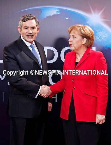"GERMAN CHANCELLOR ANGLEA MERKEL AND GORDON BROWN.G20 SUMMIT, Excel Centre, London_02/04/2009.Photo: Newspix International..**ALL FEES PAYABLE TO: ""NEWSPIX INTERNATIONAL""**..PHOTO CREDIT MANDATORY!!: NEWSPIX INTERNATIONAL(Failure to credit will incur a surcharge of 100% of reproduction fees)..IMMEDIATE CONFIRMATION OF USAGE REQUIRED:.Newspix International, 31 Chinnery Hill, Bishop's Stortford, ENGLAND CM23 3PS.Tel:+441279 324672  ; Fax: +441279656877.Mobile:  0777568 1153.e-mail: info@newspixinternational.co.uk"