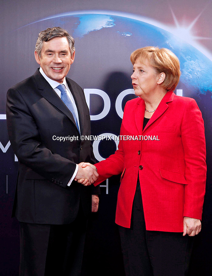 """GERMAN CHANCELLOR ANGLEA MERKEL AND GORDON BROWN.G20 SUMMIT, Excel Centre, London_02/04/2009.Photo: Newspix International..**ALL FEES PAYABLE TO: """"NEWSPIX INTERNATIONAL""""**..PHOTO CREDIT MANDATORY!!: NEWSPIX INTERNATIONAL(Failure to credit will incur a surcharge of 100% of reproduction fees)..IMMEDIATE CONFIRMATION OF USAGE REQUIRED:.Newspix International, 31 Chinnery Hill, Bishop's Stortford, ENGLAND CM23 3PS.Tel:+441279 324672  ; Fax: +441279656877.Mobile:  0777568 1153.e-mail: info@newspixinternational.co.uk"""