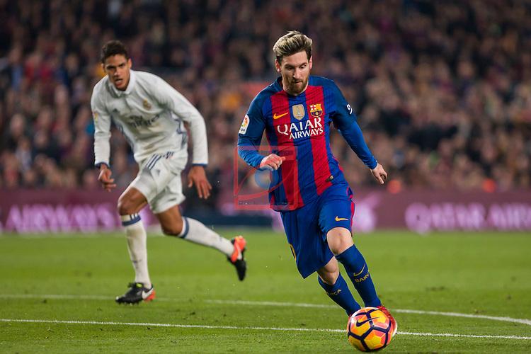 League Santander 2016/2017. Game: 14.<br /> FC Barcelona vs Real Madrid: 1-1.<br /> Varane vs Lionel Messi.