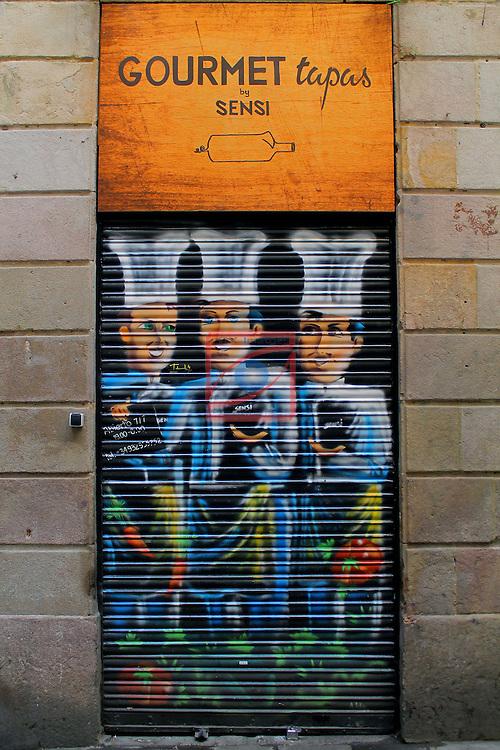 Street Art-Graffittis.<br /> Carrer de Milans.<br /> Barcelona - Barri Gotic (Ciutat Vella).