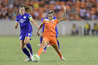 Houston, TX - Saturday Sept. 03, 2016: Alex Morgan, Poliana Barbosa during a regular season National Women's Soccer League (NWSL) match between the Houston Dash and the Orlando Pride at BBVA Compass Stadium.