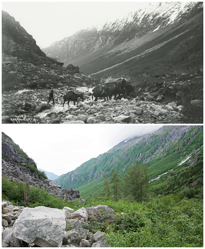 KLGO Photo Station CH-06 Long Hill, View to the south looking down valley toward Sheep Camp on Long Hill, Chilkoot Trail, Klondike Gold Rush National Historical Park, Alaska, United States. Upper photo taken in 1898 by Asahel Curtis (University of Washington Libraries, Special Collections, Klondike 235). Lower photo taken August 20, 2013 by Ronald D. Karpilo Jr. (Karpilo #20130820-00217).