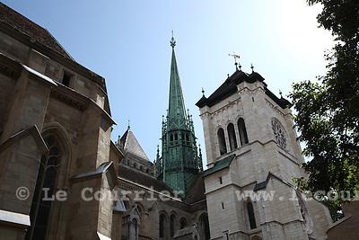 Genève, le 27.07.2009.Vieille-ville, cathédrale Saint Pierre..© Le Courrier / J.-P. Di Silvestro