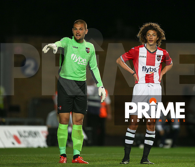 Goalkeeper Robert Olejnik of Exeter City & Ethan Ampadu of Exeter City during the The Checkatrade Trophy match between Oxford United and Exeter City at the Kassam Stadium, Oxford, England on 30 August 2016. Photo by Andy Rowland / PRiME Media Images.