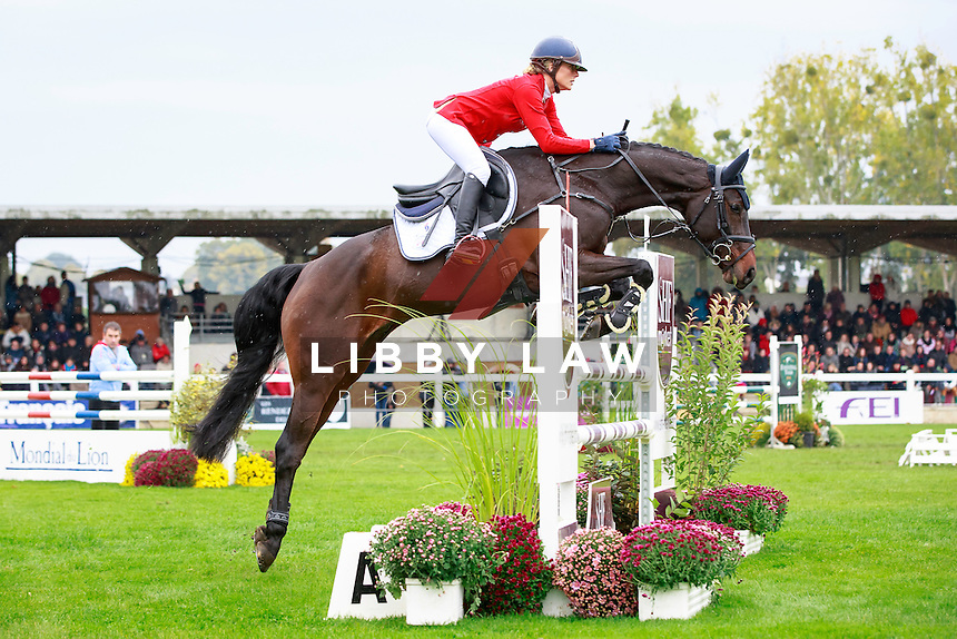 BEL-Lara De Liedekerke-Meier rides Ducati D'Arville (Final-6TH) during the CCI1*6YO Showjumping at 2016 Mondial du Lion FEI World Breeding Eventing Championships for Young Horses. Sunday 23 October. Copyright Photo: Libby Law Photography