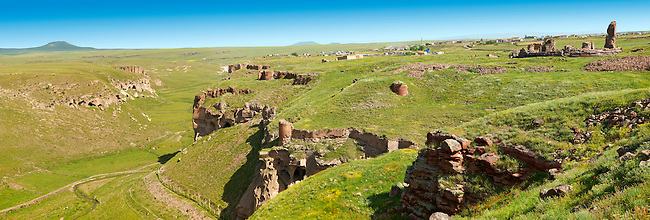 North Walls & Ravine around Ani archaelogical site on the Ancient Silk Road , Kars , Anatolia, Turkey
