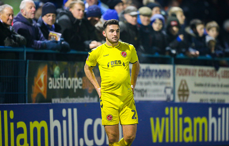Fleetwood Town's Lewis Coyle<br /> <br /> Photographer Alex Dodd/CameraSport<br /> <br /> The Emirates FA Cup Second Round - Guiseley v Fleetwood Town - Monday 3rd December 2018 - Nethermoor Park - Guiseley<br />  <br /> World Copyright &copy; 2018 CameraSport. All rights reserved. 43 Linden Ave. Countesthorpe. Leicester. England. LE8 5PG - Tel: +44 (0) 116 277 4147 - admin@camerasport.com - www.camerasport.com