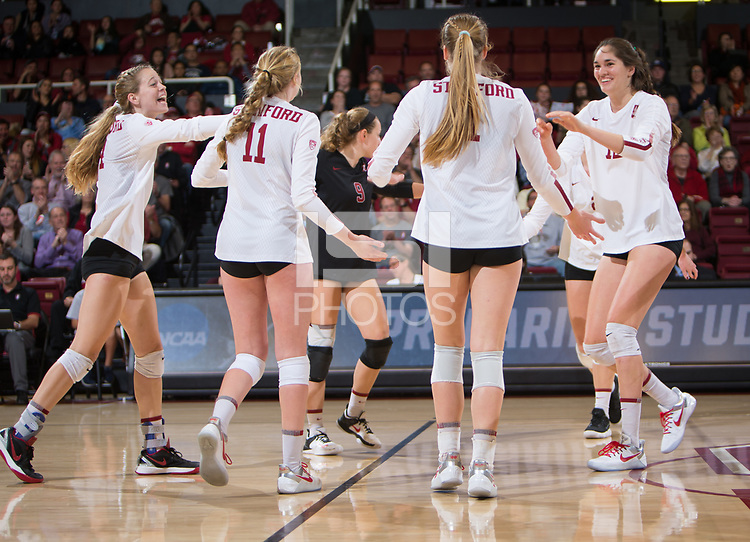 STANFORD, CA - December 1, 2017: Meghan McClure, Kate Formico, Jenna Gray, Audriana Fitzmorris, Morgan Hentz, Kathryn Plummer at Maples Pavilion. The Stanford Cardinal defeated the CSU Bakersfield Roadrunners 3-0 in the first round of the NCAA tournament.