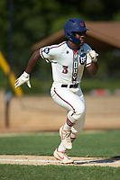 Kier Meredith (3) (Clemson) of the High Point-Thomasville HiToms hustles down the first base line against the Martinsville Mustangs at Finch Field on July 26, 2020 in Thomasville, NC.  The HiToms defeated the Mustangs 8-5. (Brian Westerholt/Four Seam Images)