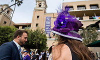 DEL MAR, CA - NOVEMBER 03: A woman wears a purple hat on Day 1 of the 2017 Breeders' Cup World Championships at Del Mar Racing Club on November 3, 2017 in Del Mar, California. (Photo by Scott Serio/Eclipse Sportswire/Breeders Cup)