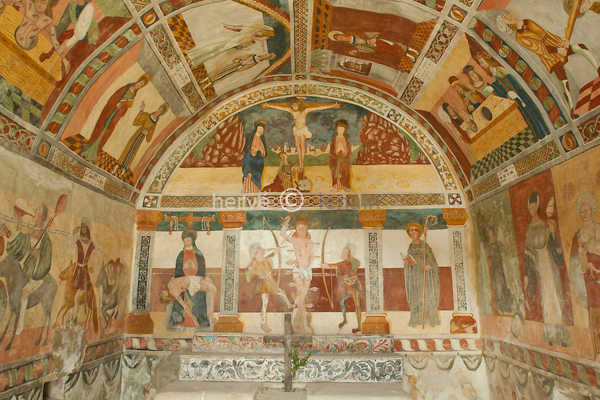 France, Alpes-Maritimes (06), Roubion, la chapelle Saint-Sébastien, les fresques // France, Alpes Maritimes, Roubion, chapel St.Sebastien, the frescoes