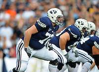 Sept. 19, 2009; Provo, UT, USA; BYU Cougars offensive lineman Nick Alletto against the Florida State Seminoles at LaVell Edwards Stadium. Florida State defeated BYU 54-28. Mandatory Credit: Mark J. Rebilas-