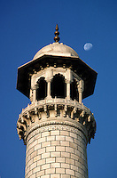 The MOON and a MINARET of the TAJ MAHAL - AGRA, INDIA.