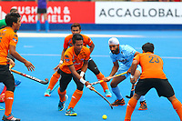 Razie Rahim of Malaysia makes a defensive clearance during the Hockey World League Quarter-Final match between India and Malaysia at the Olympic Park, London, England on 22 June 2017. Photo by Steve McCarthy.