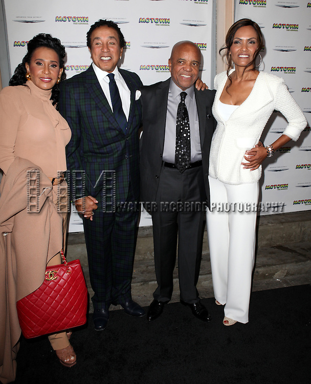Frances Robinson, Smokey Robinson, Berry Gordy and Eskedar Gobeze attending the Broadway World Premiere Launch for 'Motown: The Musical' at the Nederlander in New York. Sept. 27, 2012