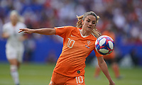 DECINES-CHARPIEU, FRANCE - JULY 07: Danielle van de Donk #10 during the 2019 FIFA Women's World Cup France Final match between Netherlands and the United States at Groupama Stadium on July 07, 2019 in Decines-Charpieu, France.