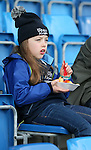 A young Sale Sharks fan enjoys her pre match chips - European Rugby Champions Cup - Sale Sharks vs Munster -  AJ Bell Stadium - Salford- England - 18th October 2014  - Picture Simon Bellis/Sportimage