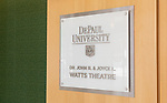 The Theatre School's Dr. John R. and Joyce L. Watts Theatre, formerly know as The Fullerton Stage, inside The Theatre School building on the Lincoln Park Campus May, 2018. The theatre was named in recognition of John Ransford Watts, a former dean and artistic director, and his wife, Joyce, a former business consultant and academic administrator, for a generous gift to the school. (DePaul University/Jeff Carrion)